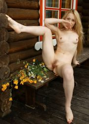 Naked Russian girl with long blond hair