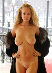 Busty blonde naked woman