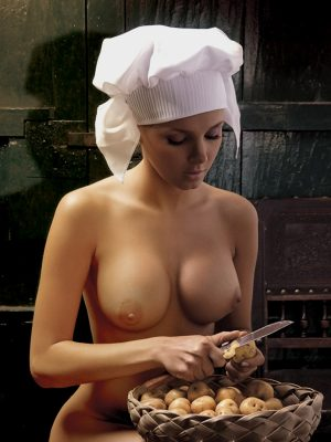 Busty naked chef