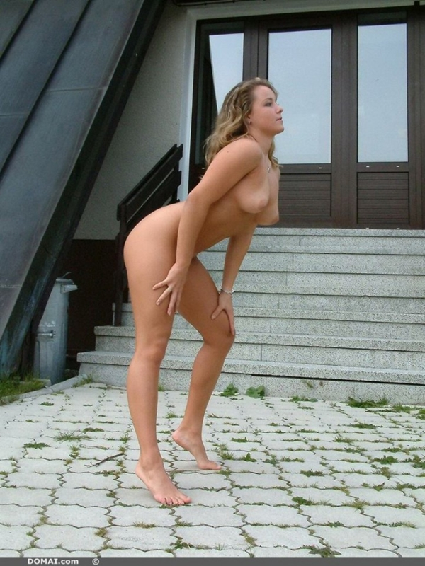 Chloe is posing naked outside of the house. This wild hottie is so hot ...