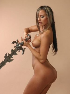 Naked girl with sword