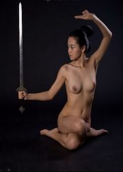 Nude girl in martial arts