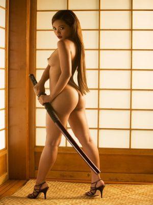 Nude girl with samurai sword