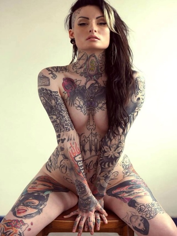 tattoo covered girl nude