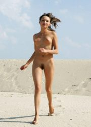 Nude teen running