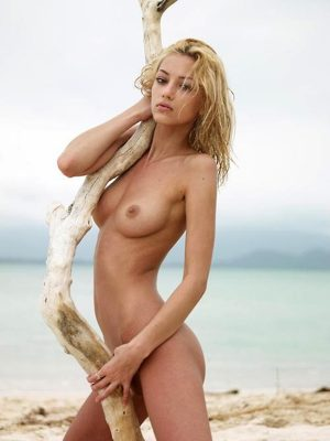Pretty naked girl on the beach