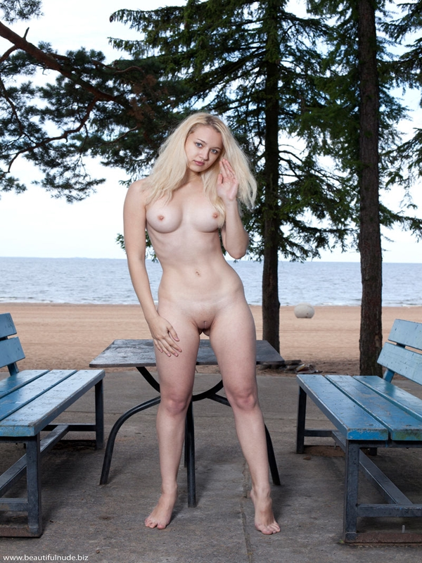 Sexy blondy on nature
