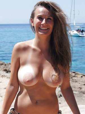 Topless naked woman