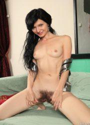 Brunette naked girl showing bushy pussy