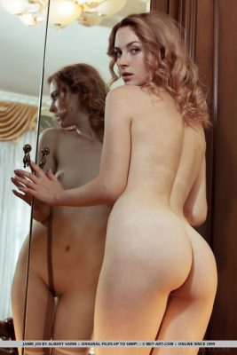 Nude girl with sexy ass on mirror
