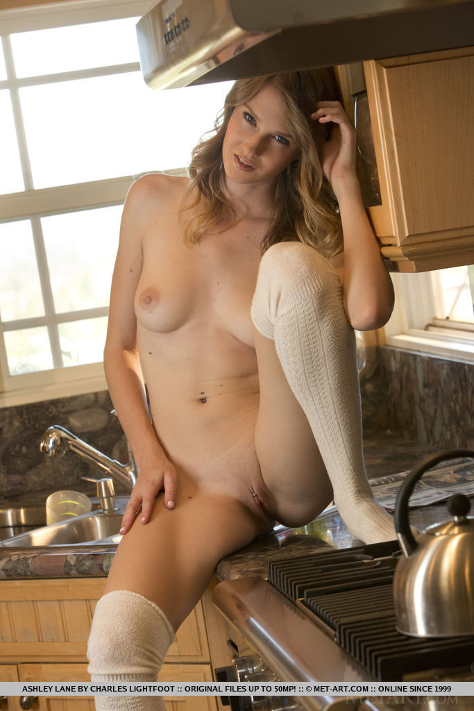 Black girl naked in kitchen seems
