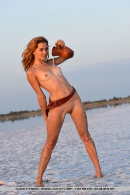Sexy redhead nude girl on the beach